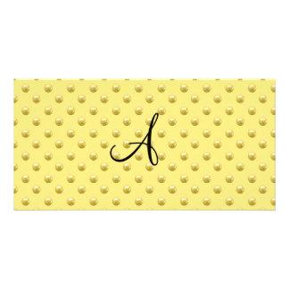 Lunares amarillos en colores pastel de la perla de tarjeta fotográfica personalizada