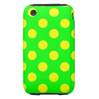 Lunares amarillos grandes en el verde de neón iPhone 3 tough funda