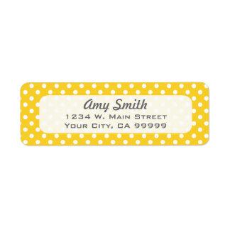 Lunares amarillos y blancos etiqueta de remitente