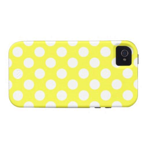 Lunares amarillos y blancos Case-Mate iPhone 4 funda