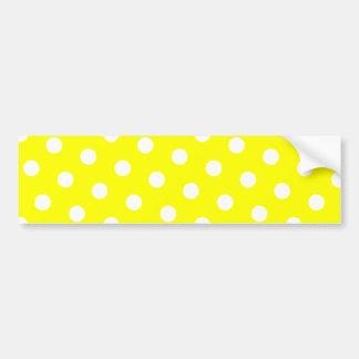 Lunares amarillos y blancos pegatina de parachoque