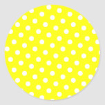 Lunares amarillos y blancos pegatina redonda
