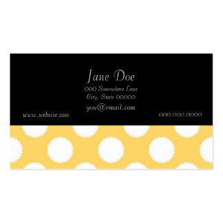 Lunares amarillos y blancos tarjetas de visita