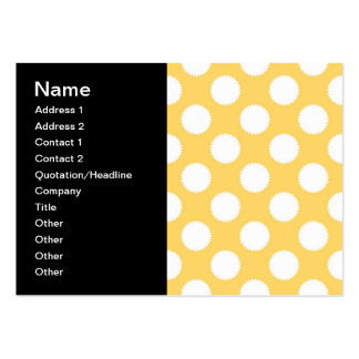 Lunares amarillos y blancos tarjetas de visita grandes