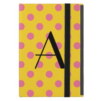 Lunares amarillos y rosados del monograma iPad mini fundas
