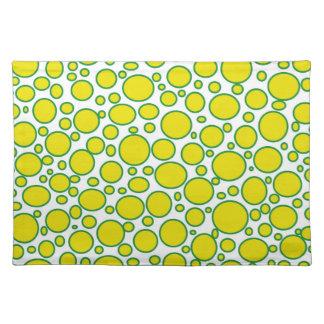 Lunares amarillos y verdes Placemat Manteles Individuales