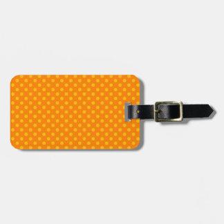 Lunares - ámbar en el naranja etiqueta para maleta