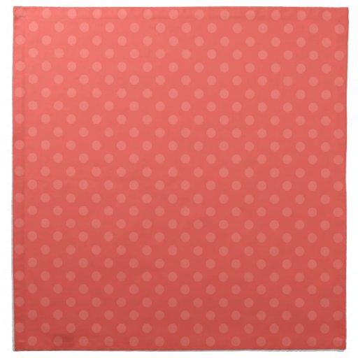 Lunares anaranjados claros servilletas imprimidas