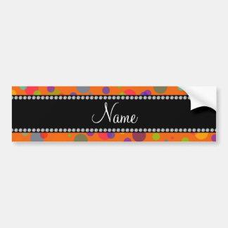 Lunares anaranjados conocidos personalizados del a etiqueta de parachoque