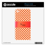 Lunares anaranjados conocidos personalizados skins para iPhone 4S