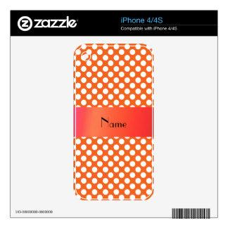 Lunares anaranjados conocidos personalizados skins para eliPhone 4S