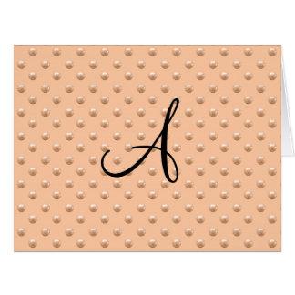 Lunares anaranjados de la perla del melocotón del tarjeta