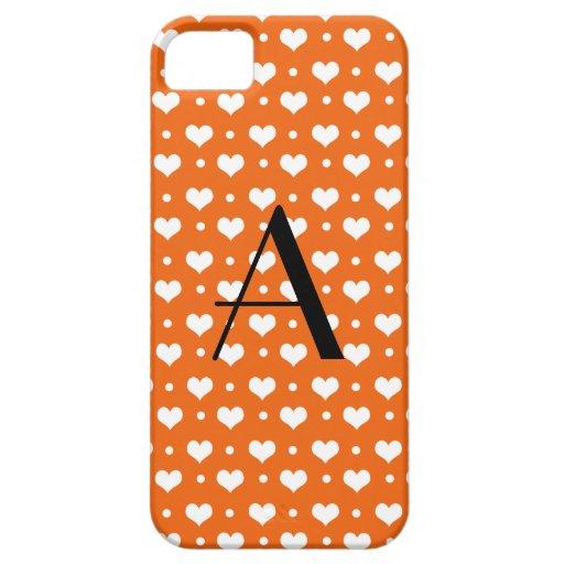 Lunares anaranjados de los corazones del monograma iPhone 5 cobertura