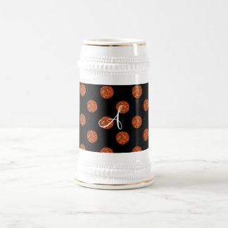 Lunares anaranjados del brillo del monograma tazas de café
