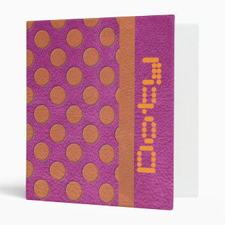 """Lunares anaranjados en textura de cuero magenta carpeta 1"""""""