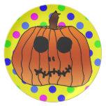 Lunares anaranjados Halloween ciánico del amarillo Plato