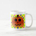 Lunares anaranjados Halloween ciánico del amarillo Taza De Café