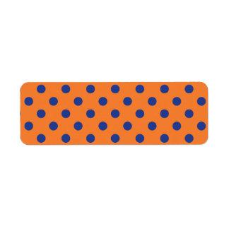 Lunares anaranjados y azules etiqueta de remitente