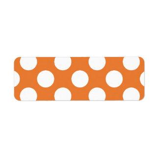 Lunares anaranjados y blancos etiquetas de remite