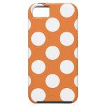 Lunares anaranjados y blancos iPhone 5 carcasa