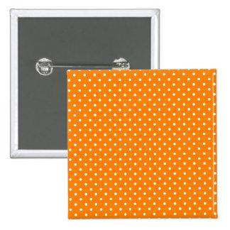 Lunares anaranjados y blancos pin cuadrado