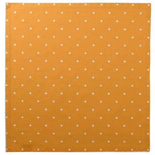 Lunares anaranjados y blancos servilleta imprimida