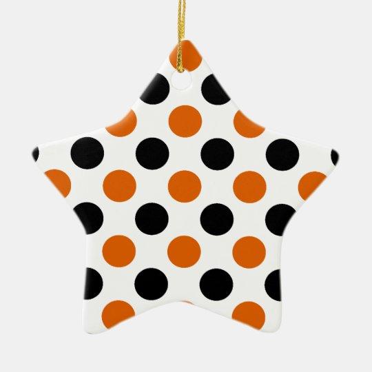 Lunares anaranjados y negros de Halloween Adorno Navideño De Cerámica En Forma De Estrella