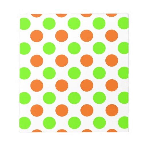 Lunares anaranjados y verdes bloc de papel
