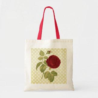 Lunares antiguos del pergamino del rosa rojo bolsa tela barata