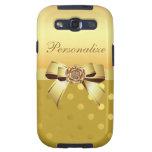 Lunares, arco y diamante del oro personalizados galaxy s3 cobertura