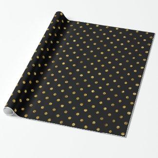Lunares atractivos y negros del oro elegante papel de regalo