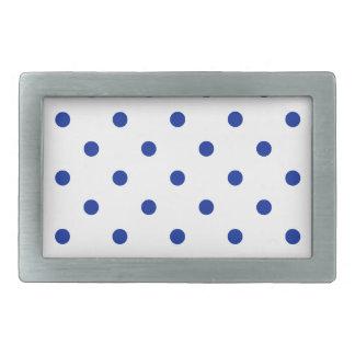 Lunares - azul imperial en blanco hebilla de cinturón rectangular