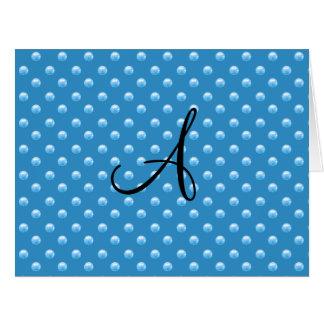 Lunares azules brumosos de la perla del monograma felicitación