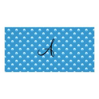 Lunares azules brumosos de la perla del monograma tarjetas personales