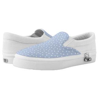 Lunares azules claros y blancos lindos zapatillas