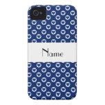 Lunares azules conocidos personalizados del corazó iPhone 4 Case-Mate cobertura