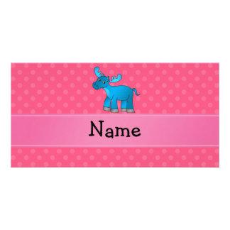 Lunares azules conocidos personalizados del rosa tarjeta con foto personalizada
