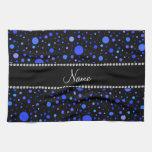 Lunares azules conocidos personalizados toalla de cocina
