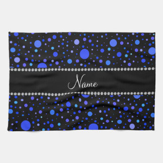 Lunares azules conocidos personalizados toalla de mano