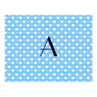 Lunares azules en colores pastel de los corazones postal