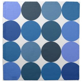 Lunares azules grandes servilletas imprimidas