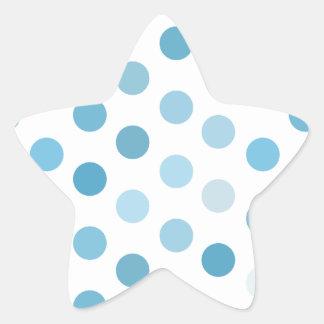 Lunares azules pegatina en forma de estrella