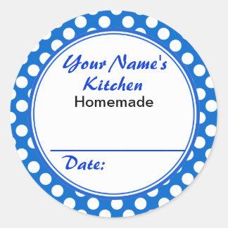 Lunares azules personalizados de la cocina de pegatinas redondas