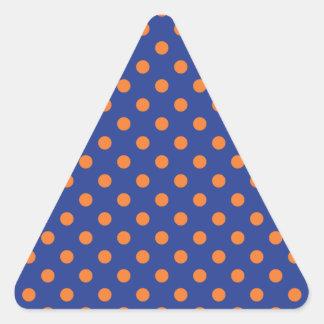 Lunares azules y anaranjados pegatina triangular