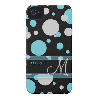 Lunares azules y grises con el monograma iPhone 4 carcasa