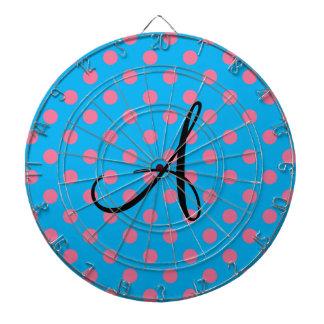 Lunares azules y rosados del monograma tablero dardos