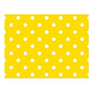 Lunares - blanco en amarillo de oro tarjeta postal