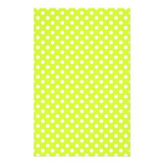 Lunares - blanco en amarillo fluorescente papeleria de diseño