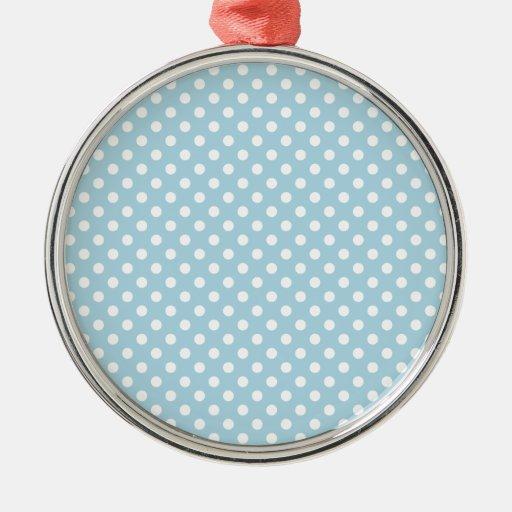 Lunares - blanco en azul claro adorno navideño redondo de metal
