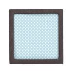 Lunares - blanco en azul claro cajas de recuerdo de calidad